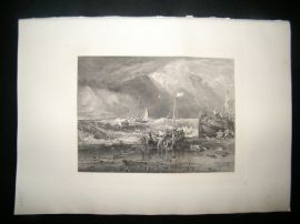 E. P. Branard after J. M. W. Turner 1885 Steel Engraving. Fishing Boats